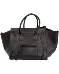 Céline Bolsa de mano en cuero negro Luggage