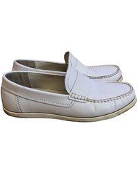 Comme des Garçons Leather Flats - White