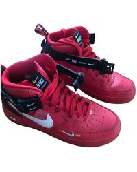 Nike Air Force 1 Leder Hohe turnschuhe - Rot