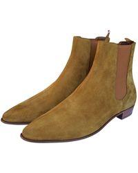Céline Carmargue Boots Camel Suede Boots - Natural