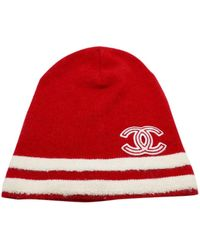 Chanel Red Cashmere Hat