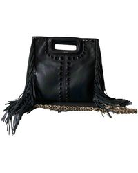 Maje Sac M Leather Handbag - Black