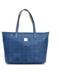 MCM Anya Leather Tote - Blue