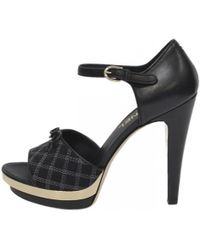 616c6df5d Lyst - Chanel Satin Bow Sandals in Black
