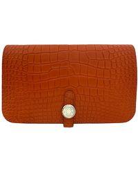 Hermès Dogon Aligator Portemonnaies - Orange