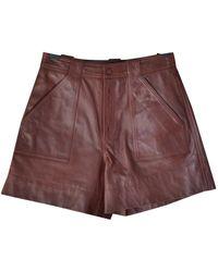 Ganni Leder Shorts - Mehrfarbig