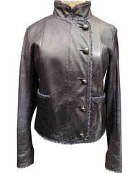 91932a980 Navy Leather Jacket - Blue
