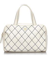 Chanel - Ecru Leather Handbag - Lyst