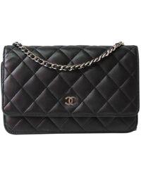 Chanel Pochette Wallet on Chain en Cuir Noir