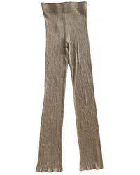 Acne Studios Camel Viscose Trousers - Multicolour
