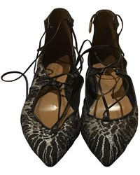 Aquazzura Christy Anthracite Polyester Ballet Flats - Multicolor