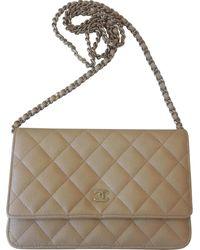 Chanel Borsa a tracolla Wallet on Chain in Pelle - Neutro