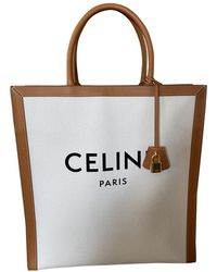 Céline Cabas Vertical Leder Shopper - Natur