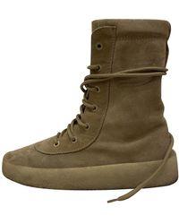 Yeezy Beige Suede Boots - Natural
