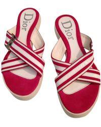 Dior Leder Pantoffeln - Pink