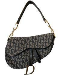 Dior - Pre-owned Vintage Saddle Blue Cloth Handbag - Lyst
