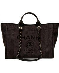 Chanel Deauville Cloth Handbag - Black