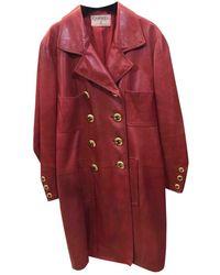 Chanel Abrigo en cuero rojo