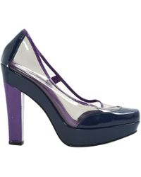 Louis Vuitton - Navy Leather Heels - Lyst