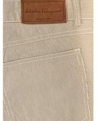 Ferragamo Vintage Ecru Cotton Jeans - Natural