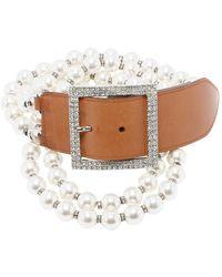 Valentino Cinturón en perlas camel - Blanco