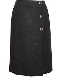 Celine Wool Mid-length Skirt - Gray