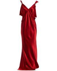 Lanvin - Red Silk Dress - Lyst