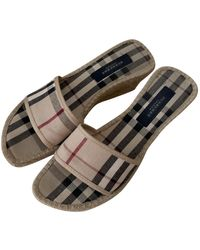 Burberry Cloth Mules - Natural