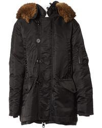 Moncler Fur Hood mäntel - Schwarz
