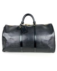 Louis Vuitton Sac Keepall en Cuir Noir