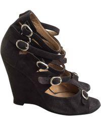 6a18ac1c22c Chloé Camilla Wedges Suede+rubber Dark Greige - Lyst