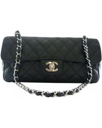 Lyst - Chanel Mademoiselle Bag In Black Leather And Gray Jersey in Black 12eb95f272e29