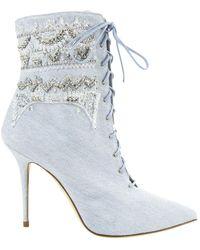 Manolo Blahnik \n Blue Cloth Ankle Boots