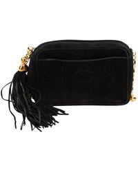 Chanel Bolsa de mano en ante negro