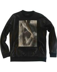 f21184bc28078 Lyst - Givenchy Star Appliqué Leather Front Sweatshirt in Black for Men
