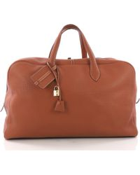 Hermès - Victoria Brown Leather Travel Bag - Lyst