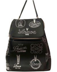 Loewe Goya Black Leather Backpacks
