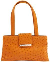 BVLGARI - Orange Ostrich Handbag - Lyst