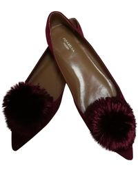 Aquazzura Powder Puff Red Leather Ballet Flats