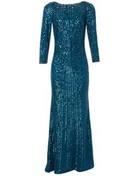 Jenny Packham Vestido en seda azul