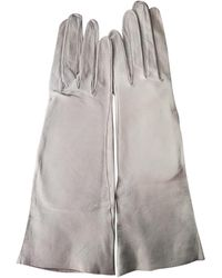Dior Grey Leather Gloves - Gray