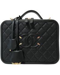 Chanel Vanity Black Leather Handbag