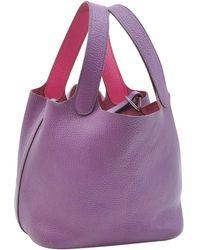 Hermès - Vintage Picotin Purple Leather Handbag - Lyst