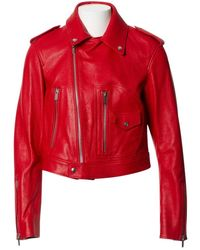 Dior Red Leather Leather Jacket
