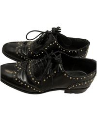 Claudie Pierlot Patent Leather Lace Ups - Black