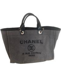 Chanel Cabas Deauville de Lona - Gris