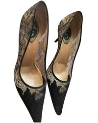 Rene Caovilla Cloth Heels - Black