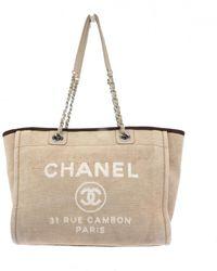 Chanel Bolso Deauville de Lona - Neutro