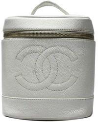 Chanel Sac de voyage en Cuir Blanc - Gris