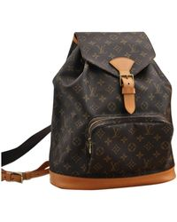 Louis Vuitton - Montsouris Brown Cloth Backpack - Lyst